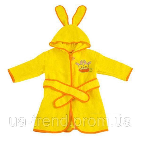 Детский махровый халат с капюшоном и ушками размер 28