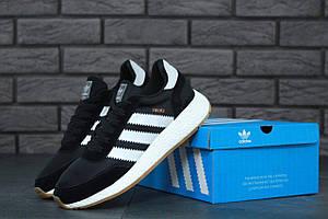 Черные кроссовки Adidas Iniki Runner Black White (Адидас Иники Раннер черно-белого цвета) мужские и женские