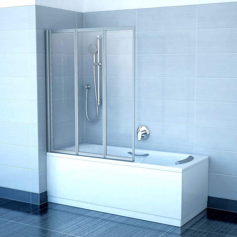 Шторка для ванни RAVAK VS 3-130 TRANSPARENT сатин