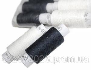 Нить швейная №40, черно-белая