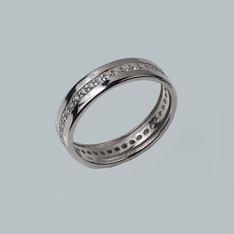 Кольцо серебряное родированное Лазурит.
