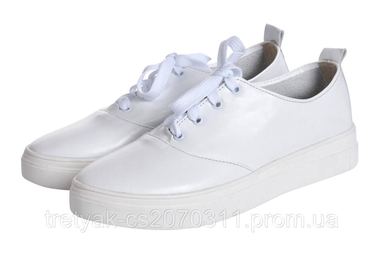 Женские кеды-тенниски из натуральной кожи белого цвета, цена 931 грн ... 07e29f69d86