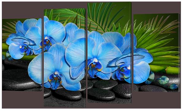"""Модульная картина """"Голубые орхидеи"""""""