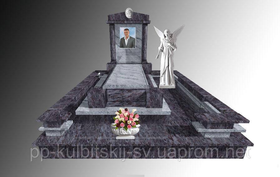 Ексклюзивний надгробний пам'ятник з світлого граніту Е188