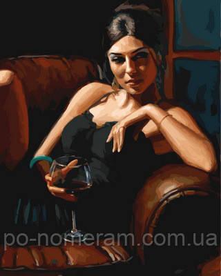 Картина по номерам Девушка с бокалом Каберне
