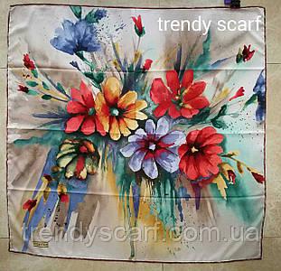 Тонкий легкий женский платок с цветами. Серо-бежевый, красный, желтый, синий, зеленый, сиреневый. 90/90 см