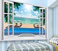 """3D фотообои """"Вид с окна на море"""""""