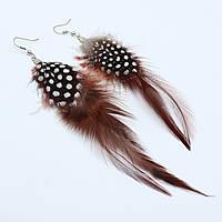 Серьги - перья длинные коричневого цвета