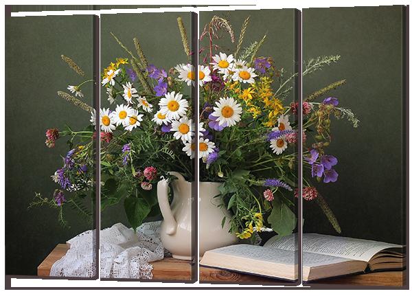 """Модульная картина """"Натюрморт с цветами и книгой"""""""