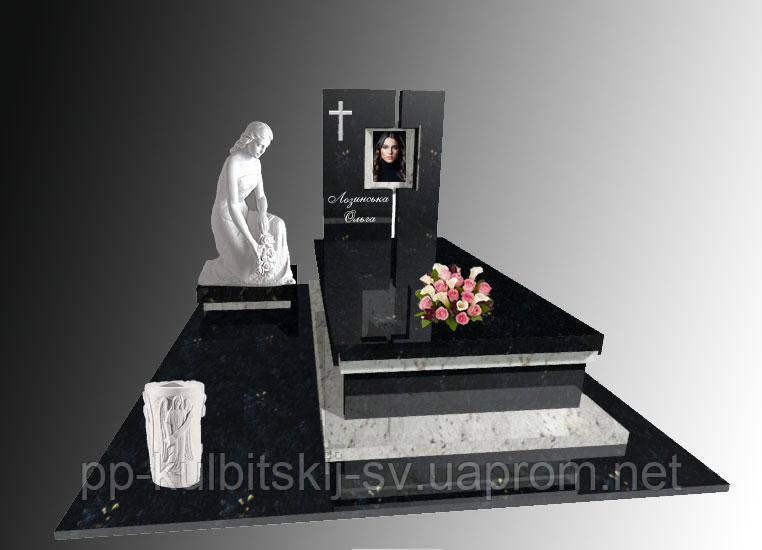 Ексклюзивний гранітний пам'ятник одинарний Е192