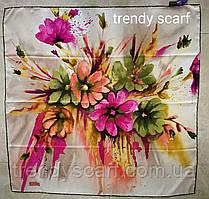 Тонкий легкий женский платок с цветами Белый бежевый, розовый, желтый, зеленый, оранжевый. 90/90 см