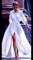 Воздушное, летящее, легкое расклешенное платье из тонкого льна, фото 1