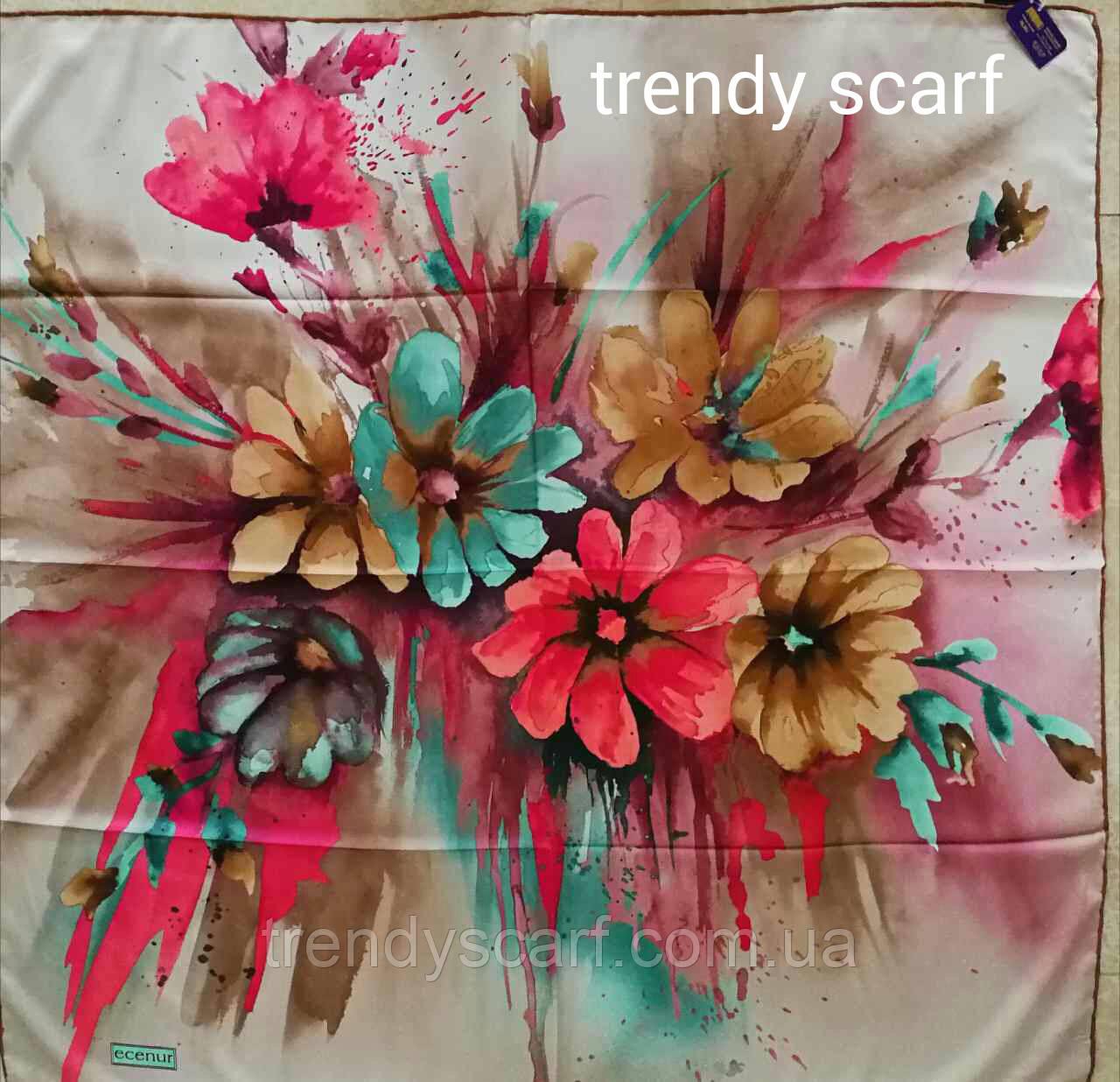 Тонкий легкий женский платок с цветами Белый бежевый, розовый, коричневый, бирюзовый, бордовый. 90/90 см