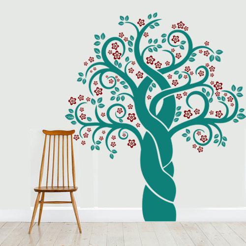 Интерьерная наклейка Вишневое дерево (наклейка детская виниловая самоклеющаяся пленка оракал, декор стен)