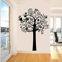 Інтер'єрна вінілова наклейка на стіну Дерево кави (кухонні наклейка декор кухні самоклеюча плівка) глянцева