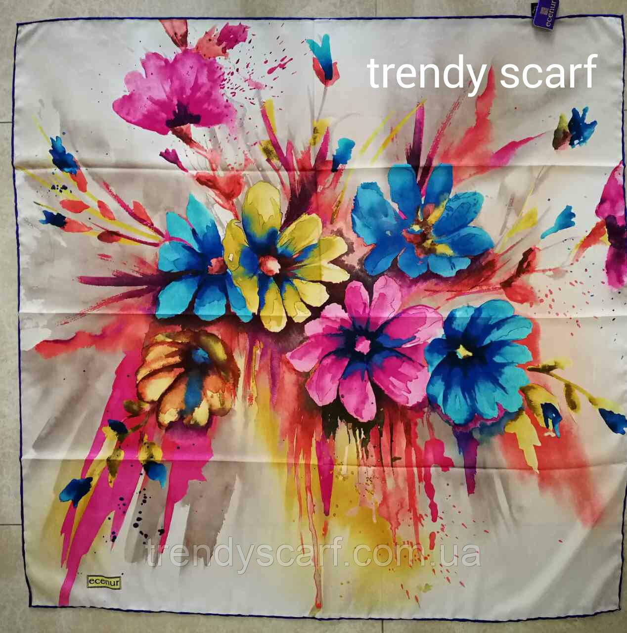 Тонкий легкий женский платок с цветами Белый бежевый, розовый, синий, желтый, оранжевый, зеленый. 90/90 см