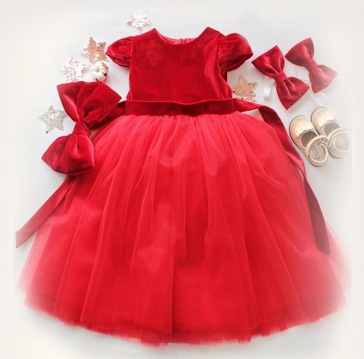 Детское Платье Бархатное Велюр Фатин Красное Платье Червона Сукня Сукня для  Дівчинки 80 — в Категории