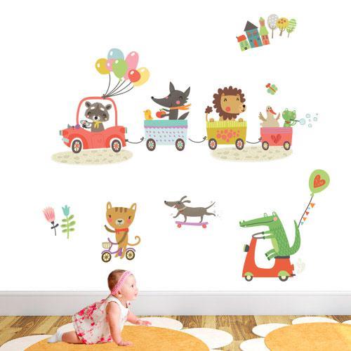 Интерьерная виниловая наклейка в детскую Сказочный паравозик (наборы детских наклеек стикеры в детский сад) матовая