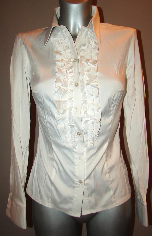 Женская белая рубашка с рюшами Р60