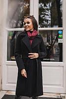 Женское пальто Бланда на запах с поясом черное