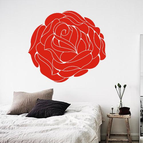Виниловая интерьерная наклейка Роза (цветы растения маки декор стен ПВХ пленка) матовая