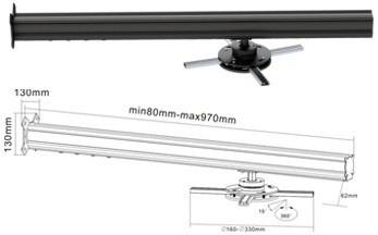 Крепление для короткофокусного проектора настенное BRATECK PRB-12 BLACK+SILVER