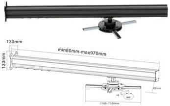 Крепление для короткофокусного проектора настенное BRATECK PRB-12 BLACK+SILVER, фото 2