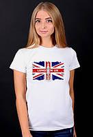 """Белая футболка женская с принтом""""London"""" спортивная хлопковая стильная летняя"""