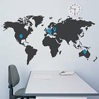 Карта наклейка виниловая интерьерная наклейка Карта мира (декоративная самоклеющаяся)