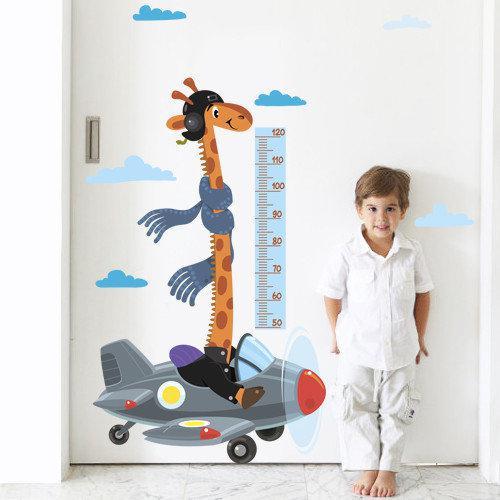 Детская виниловая наклейка Жираф ростомер, линейка роста в детскую комнату, наклейки для детских садов, оракал