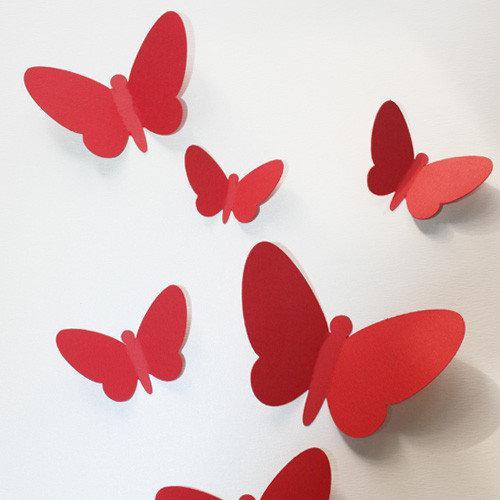 Набор интерьерных 3d наклеек 3Д бабочек Вихрь (бабочки разного размера, картон)