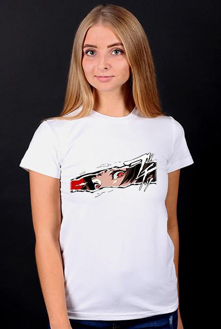 """Белая футболка женская с принтом """"Anime"""" спортивная хлопковая стильная летняя"""