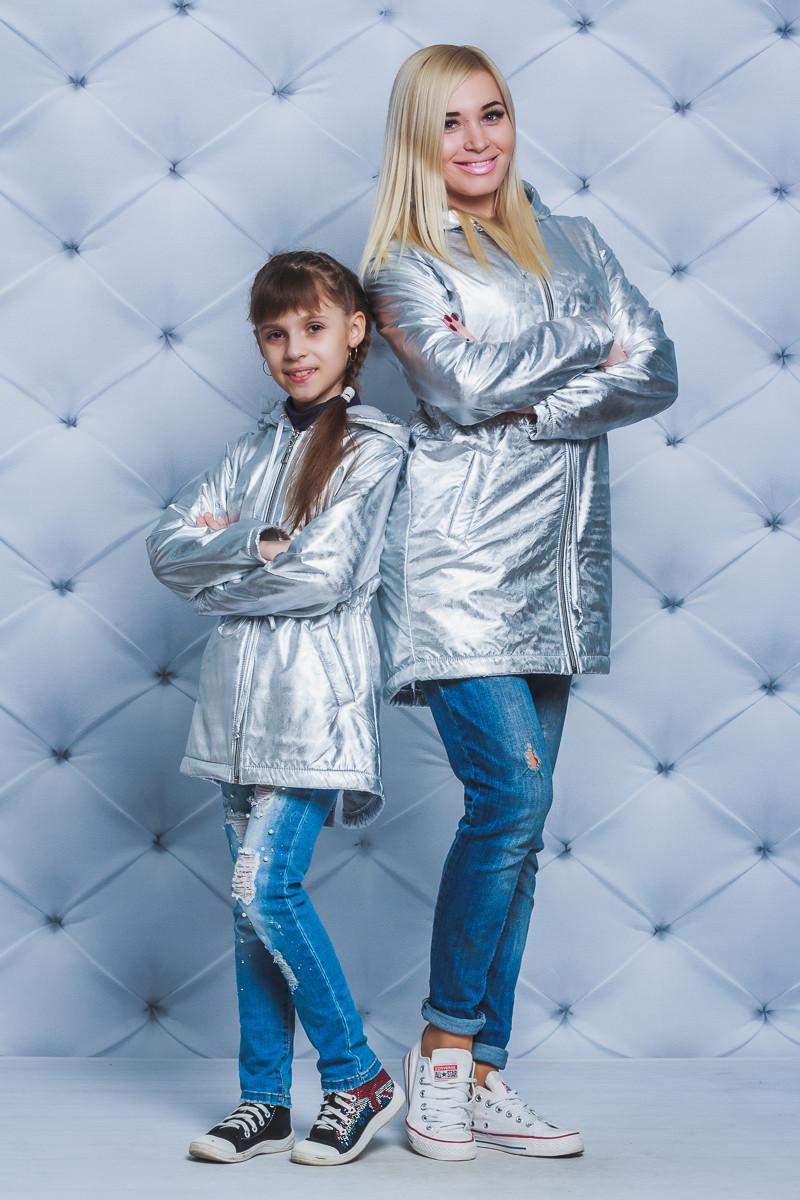 Парка для девочки на флисе серебро