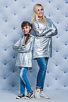 Парка для девочки на флисе серебро, фото 1