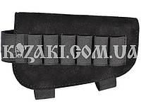 Патронташ  на приклад  6 патр. гладкоствольных на резинке ЗАМША черный (кожа), фото 1