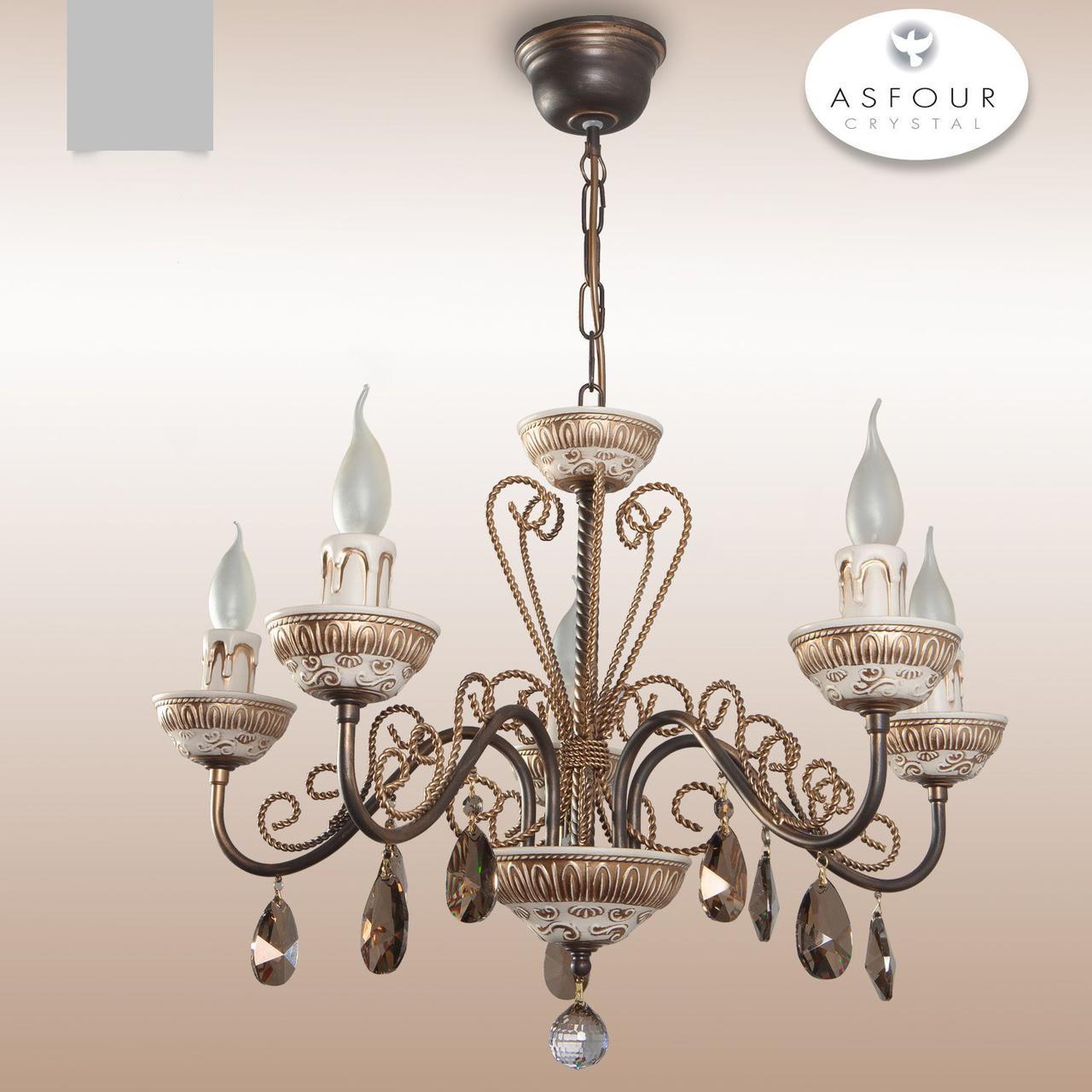 Люстра 5-ти ламповая кованная со свечами и хрустальными подвесками  для спальни, для зала 30555