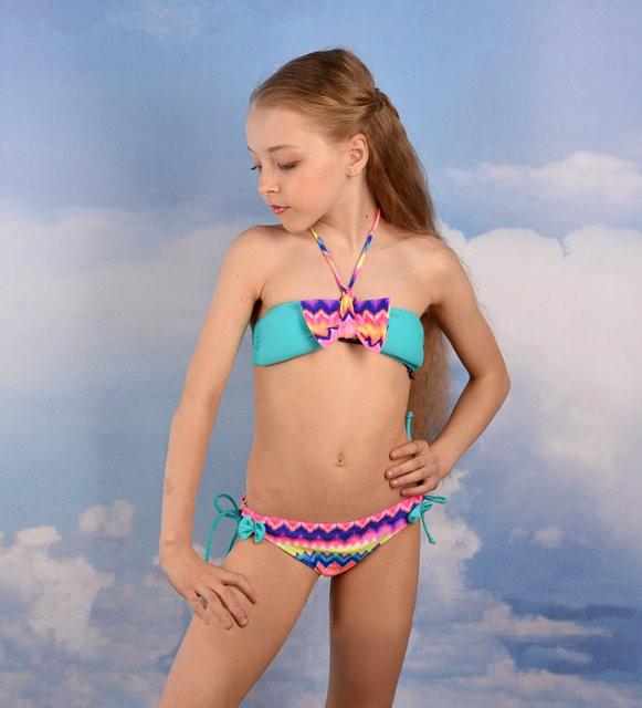 Детский модный купальник на девочку Rivage Line 201-5 Бирюзовый