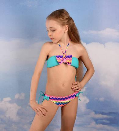 Детский модный купальник на девочку Rivage Line 201-5 Бирюзовый, фото 2