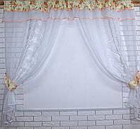 Кухонная занавесь, шторки гардина с подвязками е439, фото 1