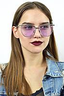 Имиджевые очки в серебряной оправе розовый