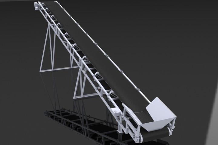 Ленточный конвейер шириной ленты 800 мм, длинной 8 м