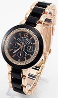 Женские кварцевые наручные часы золотые с черным