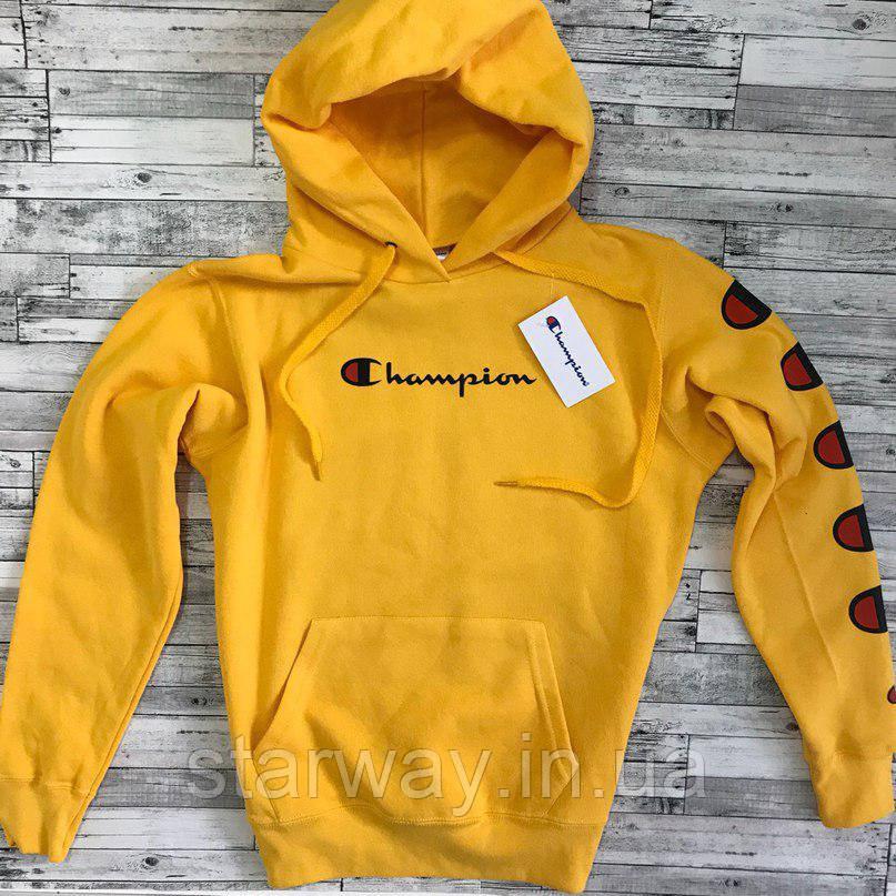 Худи жёлтая Champion logo   Толстовка стильная с оригинальной биркой