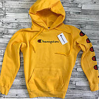 Худи жёлтая Champion logo   Толстовка стильная с оригинальной биркой, фото 1