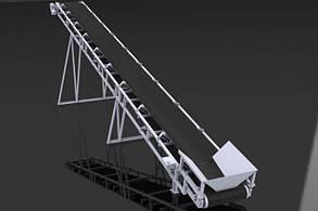 Ленточный конвейер шириной ленты 1000 мм, длинной 2 м