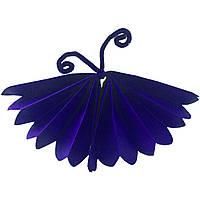 """Бумажный декор """"Бабочка"""" из тишью 25 см синяя"""