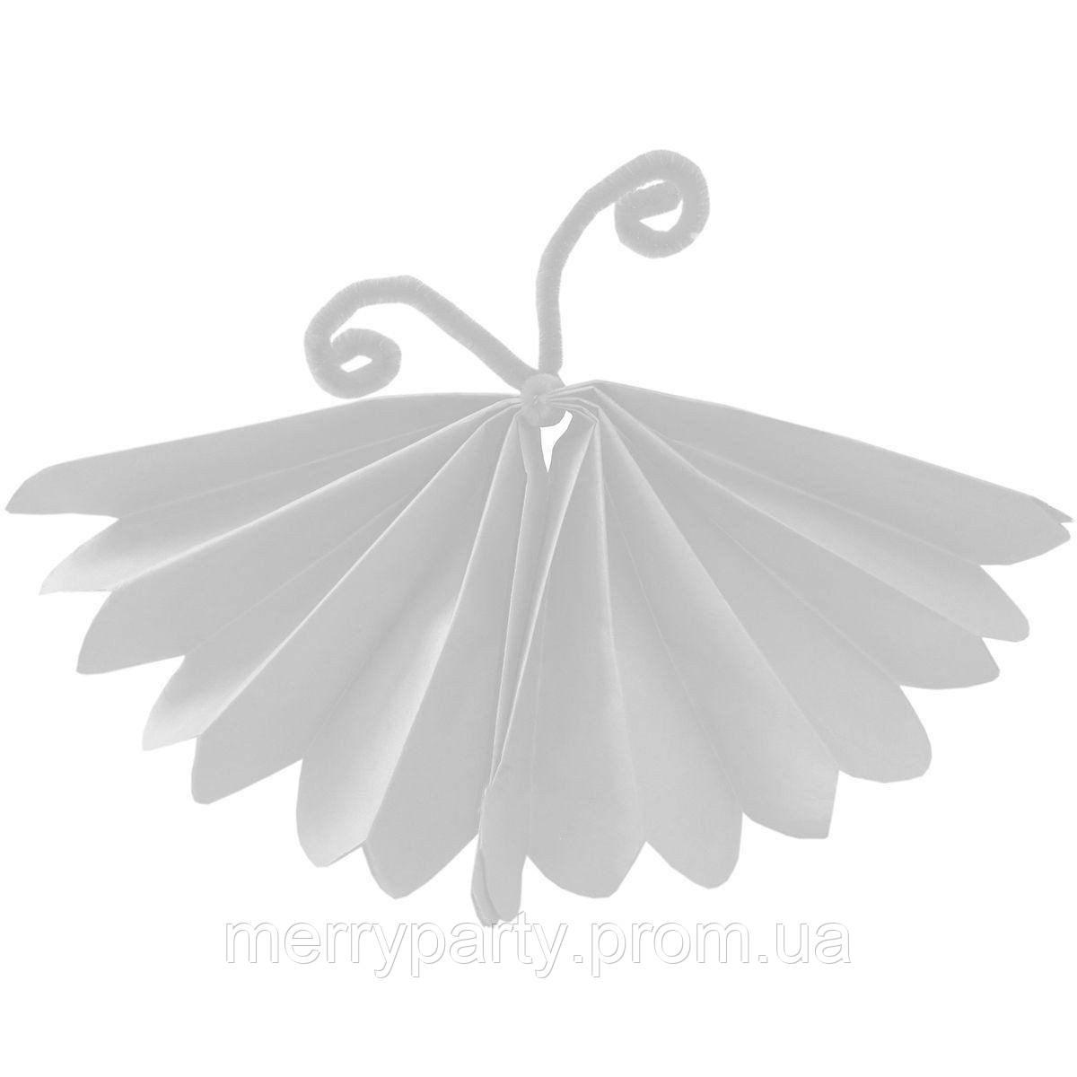 """Бумажный декор """"Бабочка"""" из тишью 25 см белая"""