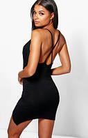 Черное Открытое Стильное Платье на Вечеринку Boohoo Оригинал, размер L