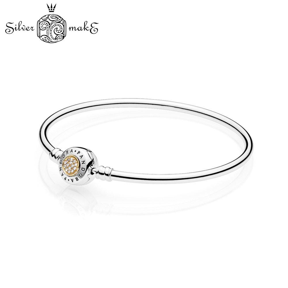 Серебряный браслет пандора  с золотой вставкой