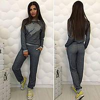 """Темно-серый спортивный брючный костюм с накаткой на груди  """"Diva"""" 2P/NR-4039"""